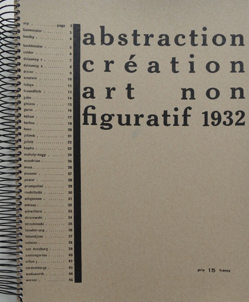 Abstraction création art non figuratif 1932